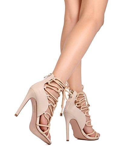 Knotted Alaza Nude 24 Heel Stiletto Rope Strappy CherryMad Nude Black FadXnxaq