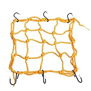 Orange motorcycle luggage cargo spider net