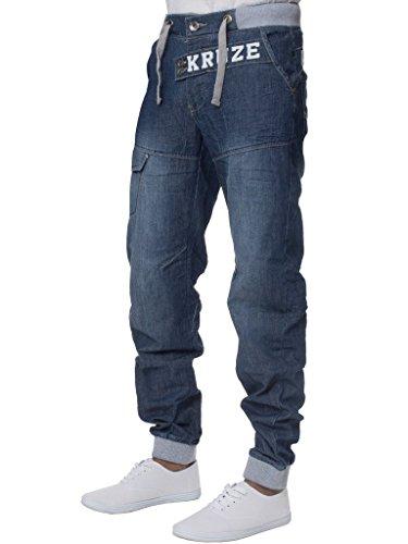 Con Vita Marca Risvolto Di Elasticizzato Tutte Taglie Pantaloni Denim Mid Jeans Slavato Stonewash Kruze Uomo Awpfxp