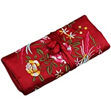 WEI LONG@Jewelry Roll, Travel Jewelry Roll Bag,Silk Embroidery Brocade Jewelry Organizer Case with Tie Close (Blossom, Wine Red)