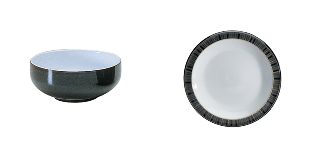 Denby Jet Black Cereal Bowl and Tea Plate, Set of 2