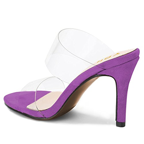 Open on Women Slide Mules Dress Pumps Slip Transparent Purple YDN High Heels Shoes Toe Sandals 5T5xq
