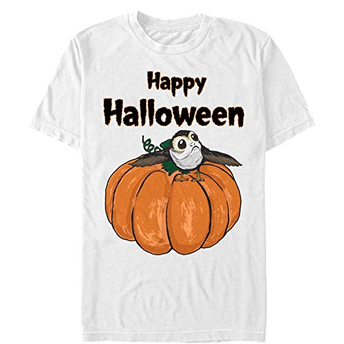Star Wars Licensed Halloween PORG on a Pumpkin Men's Tee, White, xx-Large
