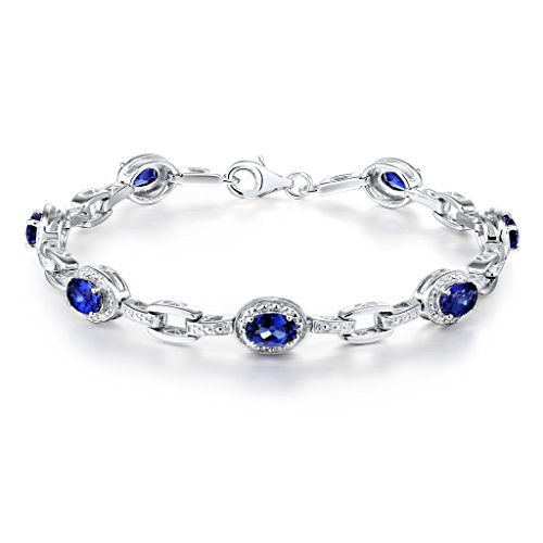 Lab Created Blue Sapphire Bracelet in Rhodium Plated Sterling Silver - 7 Inches by Diamond Classic Jewelry