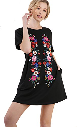 - Umgee Boho Fall/Winter Please! Embroidered French Terry Cover up by Day Dress by Night (Black, Medium)