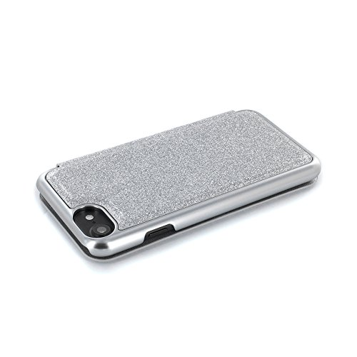 iPhone 7 Case, Official Ted Baker® Folio Style Case for Apple iPhone 7 - Fashion Branded Mirror Case in Sprinkling of Sparkle Illuminates for Professional Women - GLITSIE - Silver Glitter