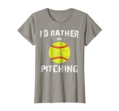 Womens Softball Shirts For Girls Pitcher, I'd Rather Be Pitching Medium Slate