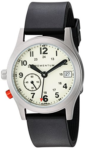 - Momentum Women's Swiss Quartz Titanium and Rubber Dress Watch, Color:Black (Model: 1M-SP61L1B)