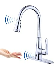 Touchless Kitchen Faucet with PullDown Sprayer,20 Single Kitchen Sink Faucets black Pull Out Sprayer,High Arc Pulldown Single Handle For Motion Sensor,1handle 3 Hole Deck Mount,black (Chrome)