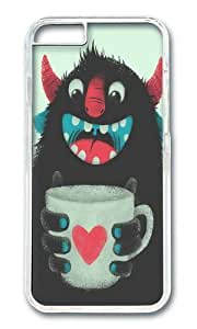 Apple Iphone 6 Case,WENJORS Adorable Demon with a cup of coffee Hard Case Protective Shell Cell Phone Cover For Apple Iphone 6 (4.7 Inch) - PC Transparent