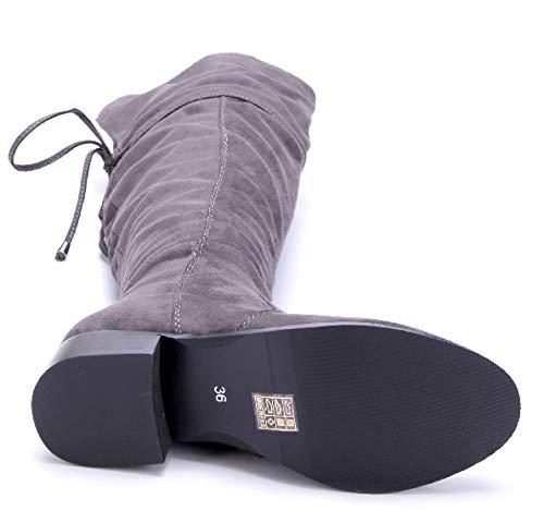Schuhe Damen Grau Stiefel Blockabsatz Boots Overknee Zierschleife Stiefeletten 4 Schuhtempel24 cm qZTFWwp5w