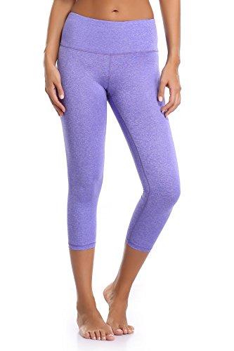 Sunnyhu Women's Power Flex Yoga Pants Compression Capris Workout Running Leggings (M, Space Dye Purple)