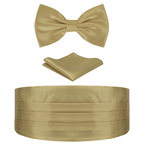 HDE Gold Cummerbund, Bow Tie, Pocket Square for Men Satin Tuxedo Set