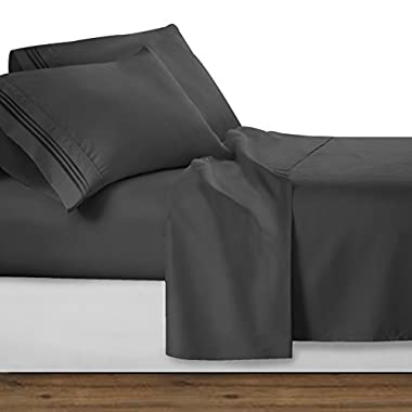 Clara Clark Premier 1800 Collection 4pc Bed Sheet Set - Queen Size, Charcoal Stone Gray