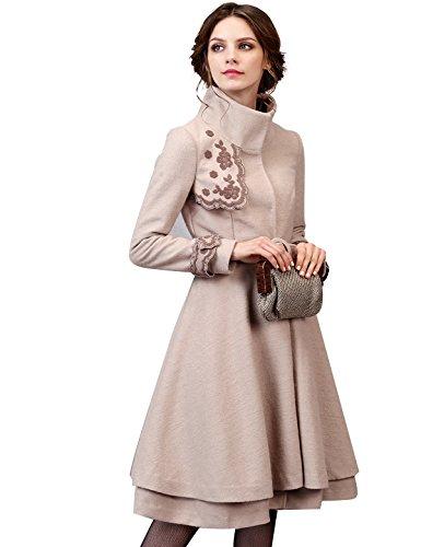 Artka Women's Elegant Embroidery Wool Blend Trench Coat Peacoat with Belt