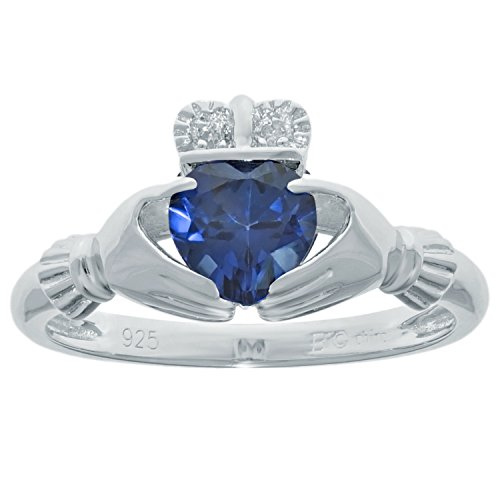 (.97 Ct Heart Blue Sapphire and Diamond Accent 925 Sterling Silver Ring Size 7)
