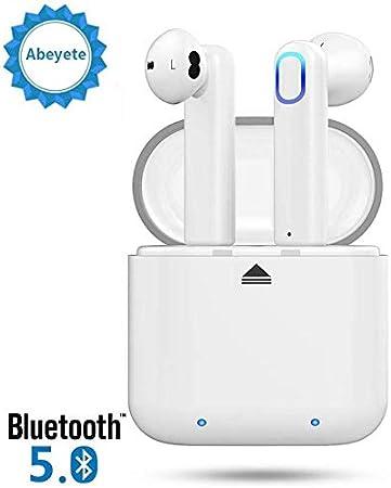 Abeyete Auriculares Bluetooth 5.0 Sport IPX5 Auriculares intrauditivos súper estéreo Bluetooth con micrófono Caja de Carga portátil Siri Compatible con Todos los Dispositivos Inteligentes
