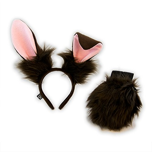 Pawstar Bunny Ear and Tail Costume Combo Headband Stand Up Poseable Rabbit Ears - Brown