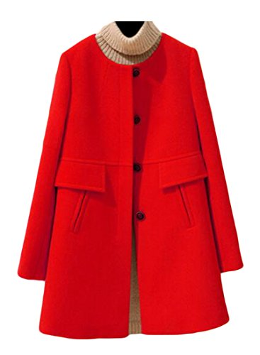 BU2H Womens Single Breasted Swing Trench Coat Long Wool Pea Coat Overcoat Red US 4XL