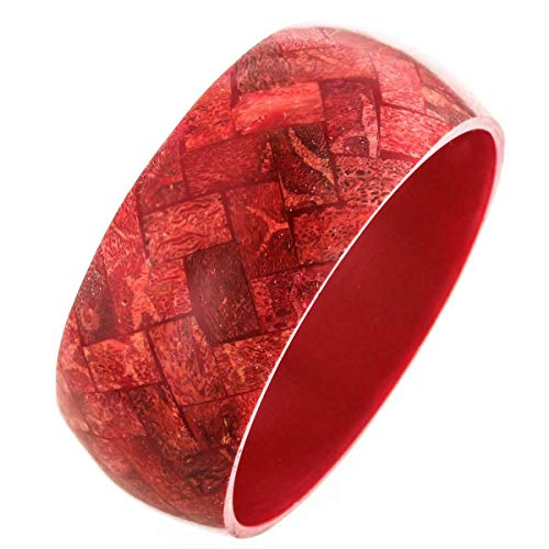 8'' Exotic Genuine RED Coral Mosaic Bangle Bracelet YE-1773
