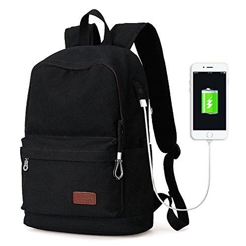 "Eshow Mochila de Carga USB para Portátiles de hasta 15.6"" Bolso Mochila de Tela Escolar Viajes Senderismo Camping negro"
