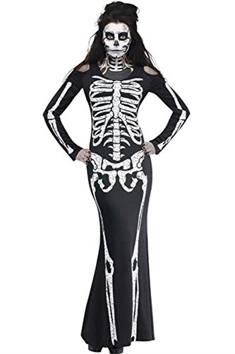 Jug&Po Women's Long Skeleton Dress Adult Halloween (Ladies Halloween Skeleton Costume)