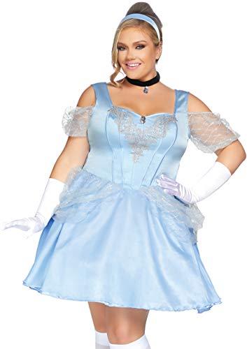 Leg Avenue Women's Plus Size 3 Pc Glass Slipper Sweetie Costume, Blue, -