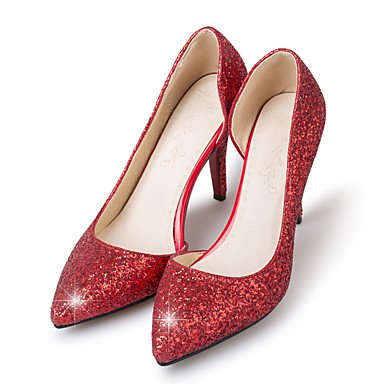 LvYuan Tacón Stiletto-Zapatos del club-Sandalias-Oficina y Trabajo Vestido Fiesta y Noche-Sintético-Rojo Plata Oro Red