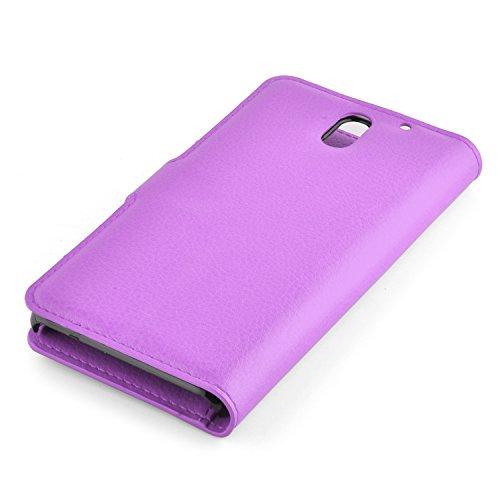 Cadorabo - Funda HTC DESIRE 610 Book Style de Cuero Sintético en Diseño Libro - Etui Case Cover Carcasa Caja Protección (con función de suporte y tarjetero) en ROJO-CARMÍN VIOLETA-DE-MANGANESO