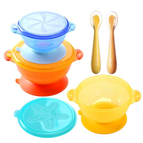 Suction Baby Bowls for Kids Toddlers Solid Feeding, Cute Stone 3 Size Stay Put Spill Proof Stackable To Go Snacks & Storage-With 3 Snap Tight Lids, 1 Travel Case, 2 Bendable Silicone Spoons, BPA-FREE