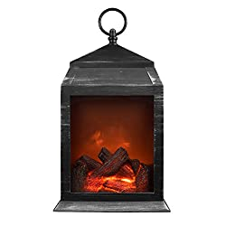 Northpoint Fireplace Lantern 6 Super Bright LED'S and 36 Lumen Output Battery Operated Hanging and/Or Sitting Lantern for Indoor and Outdoor Usage