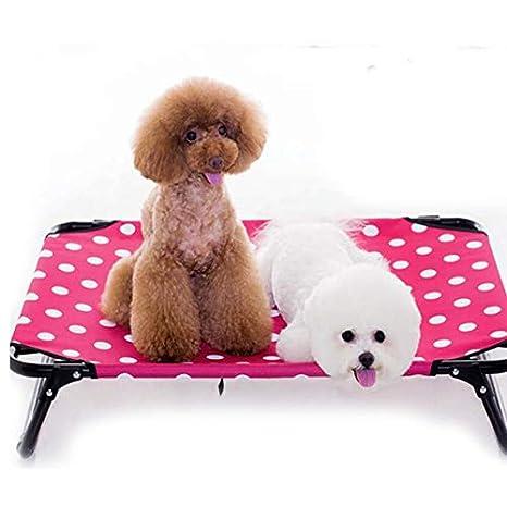 FINGO Cama elevada para Perros Cuna para Mascotas elevada portátil Cuna Impermeable y Transpirable Pies Antideslizantes Tela Oxford Duradera Uso en ...