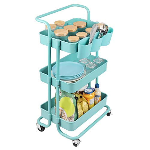 alvorog 3-Tier Rolling Utility Cart Movable Storage Organizer Shelves with Wheels and Hanging Cups Multifunctional Service Cart for Kitchen, Office, Coffee Bar