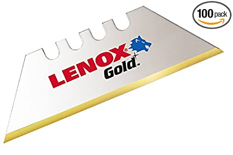 lenox tools logo. lenox gold utility knife blades, titanium-coated, 100-pack lenox tools logo