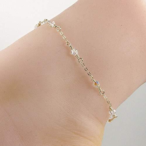 (Clear AB Swarovski Crystal Gold Anklet, Crystal Gold Chain Ankle Bracelet)