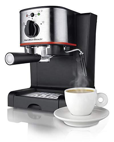 Hamilton Beach Espresso Latte and Cappuccino Machine with Milk Frother 15 Bar Italian Pump Black and