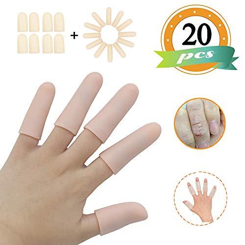(20PCS) Gel Finger Sleeves,Finger Support,Silicones Finger Protectors *Waterproof* Finger Cots Great for Finger Arthritis,Finger Psoriasis,Hand Eczema,Finger Craking,Finger Trigger. ()