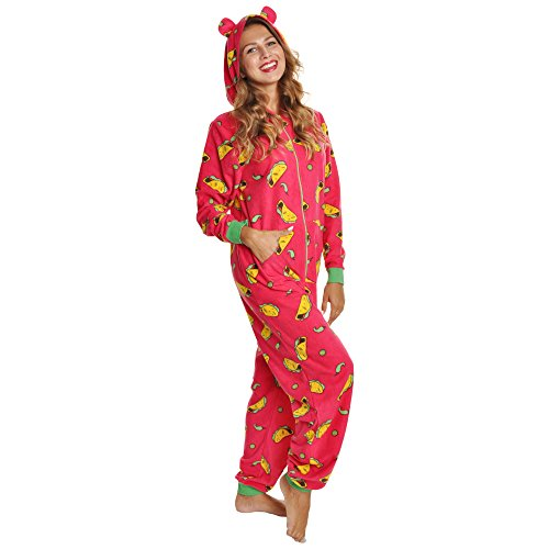 Angelina Women's Fleece Novelty One-Piece Hooded Pajamas, PJ1Z_Taco_LXL
