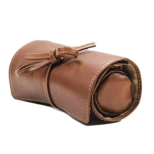 Women's Italian Cow Leather Premium Combination Jewelry Roll with Tie (Leather Zippered Tie Case)