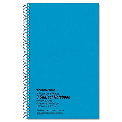 - National 33360 3 Subject Wirebound Notebook College Rule 6 x 9 1/2 White 150 Sheets