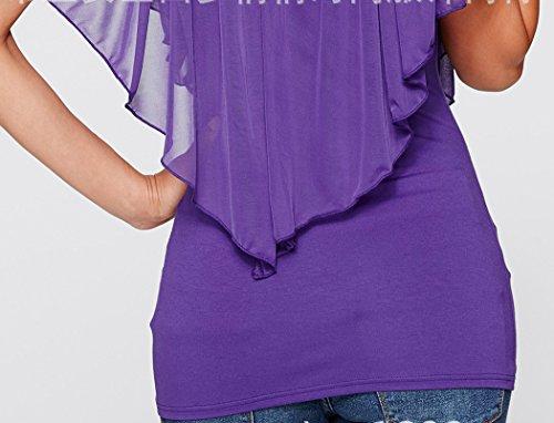 V D't Manches Mousseline Beautisun Cape Lait Soie T Noir Femmes Extensible Shirt Cou Couture Blouse des Chemise xX4wq4