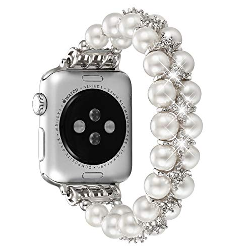 fastgo Compatible for Apple Watch Band 38mm 40mm, Women Girls Fancy Handpicked Artificial Pearl Elastic Stretch Bracelet Jewelry Wristband Compatible for Iwatch Series 4/3/2/1(Pure White, ()