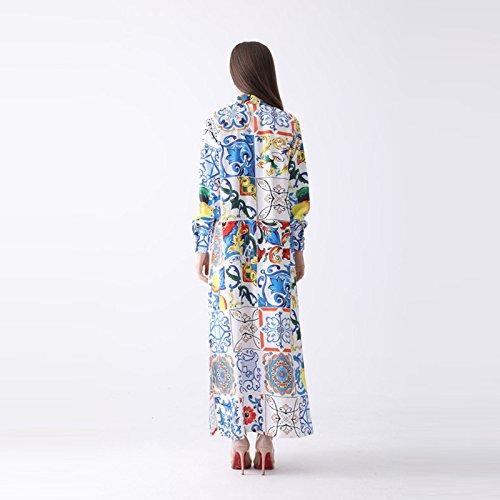 Robes Formelles Cotylédons Pour Les Femmes D'été À Manches Longues Col Revers Longue Robe