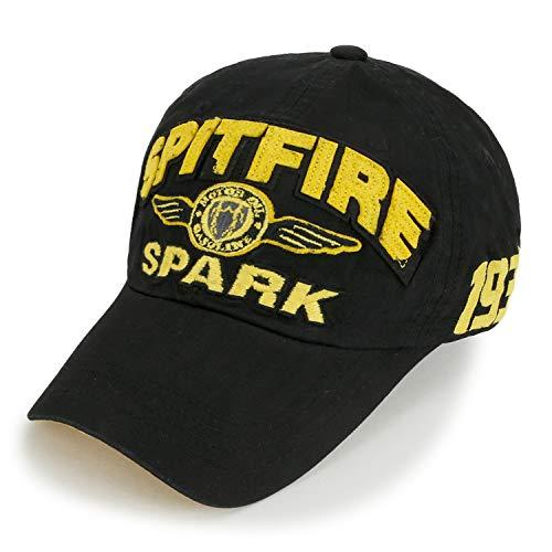 2bdeea4066e540 ililily Spitfire Patch Baseball Cap Washed Cotton Casual Adjustable Trucker  Hat, Black