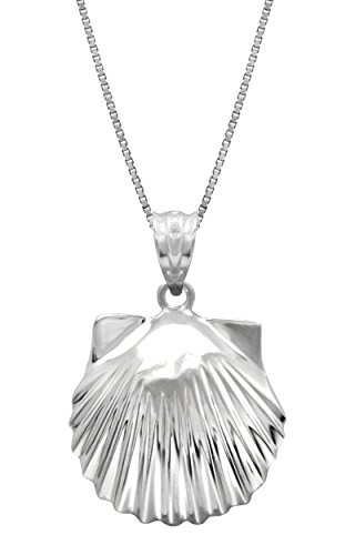 Sterling Silver High Polished Seashell Necklace Pendant with 18