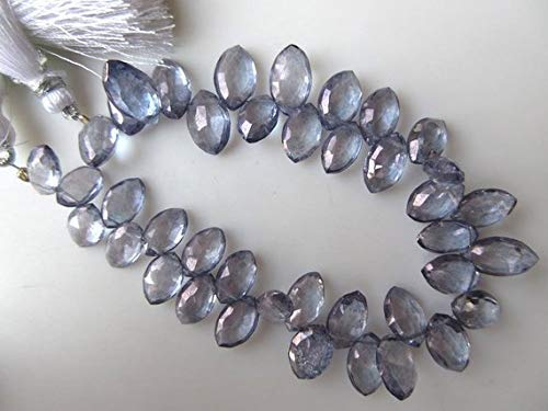 Natural Quartz Crystal Iolite Color Faceted Marquise Briolette Beads, 11mm to 15mm Beads 4