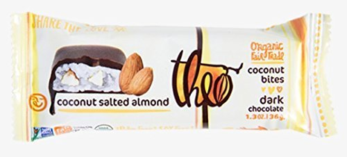 Theo Chocolate Organic Coconut Bites - Dark Chocolate Coconut Salted Almond - Vegan - 1.3 Oz - Case Of 12