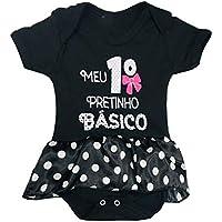 Body Infantil PiftPaft Pretinho Básico - Enxoval Body Bebe Menina