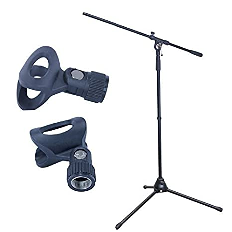 MCSproaudio Metal Tripod Adjustable Boom Arm Mic Stand with 2 Free  Microphone Clips Professional Grade