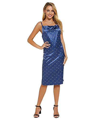 Satin Blue Leopard (Moxeay Womens Cowl Neck Backless Spaghetti Strap Cocktail Bodycon Midi Dress (M, Navy Polka Dots))